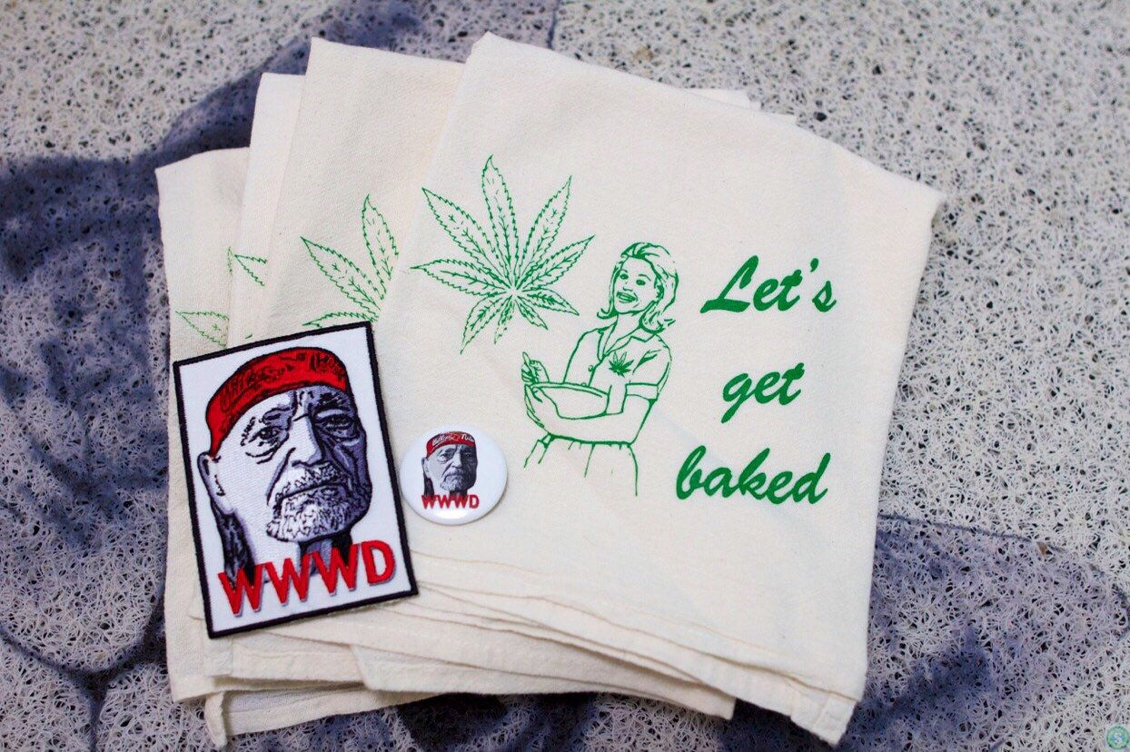 Let's get baked dish towel + Willie Nelson iron on patch funny weed humor flour sack set #dishtowels