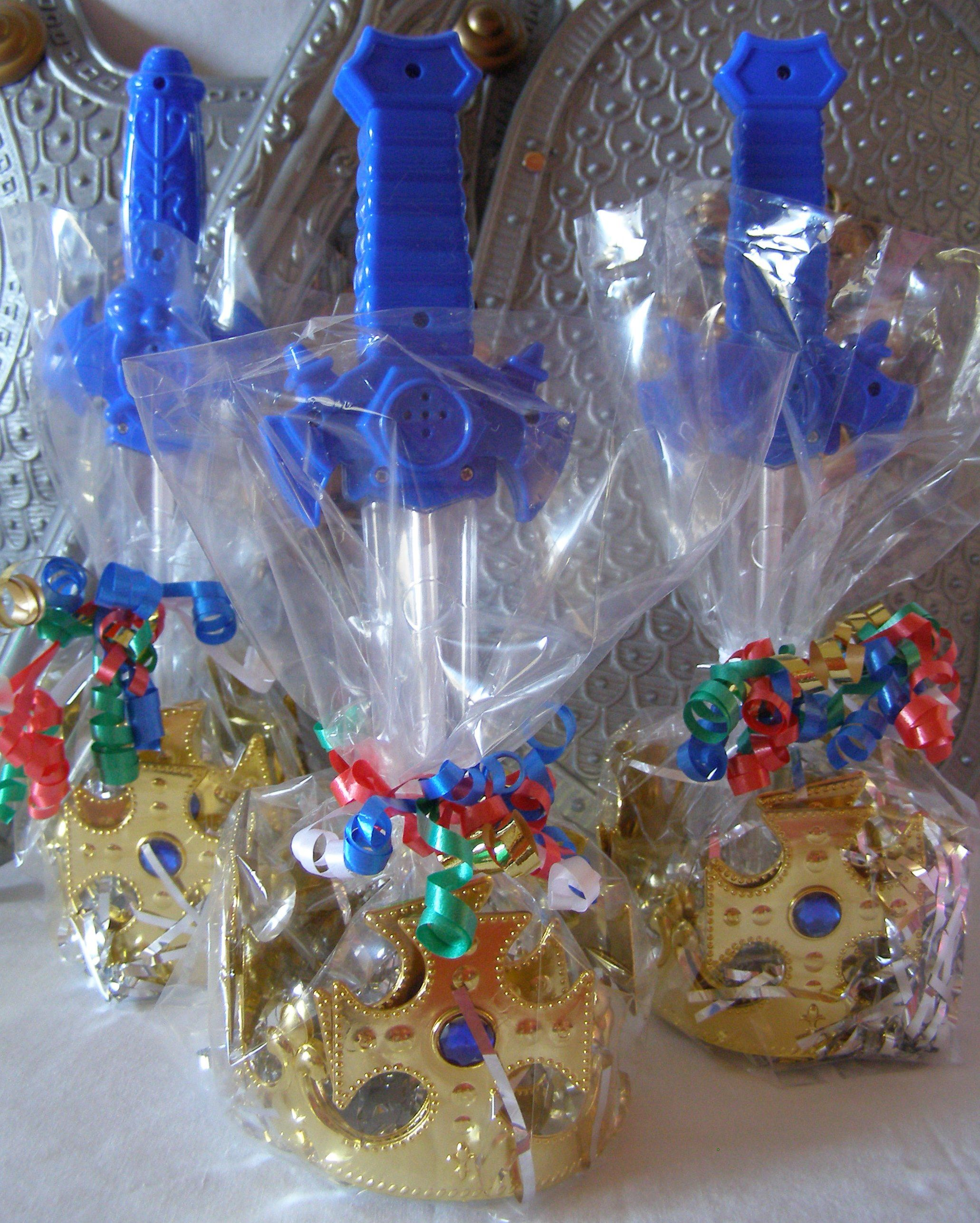 Boys Favors at a Princess Party. Crown and Light up Sword from My Princess Party to Go. http://www.myprincesspartytogo.com/Boysdressup.html #boyspartyfavors #knightparty