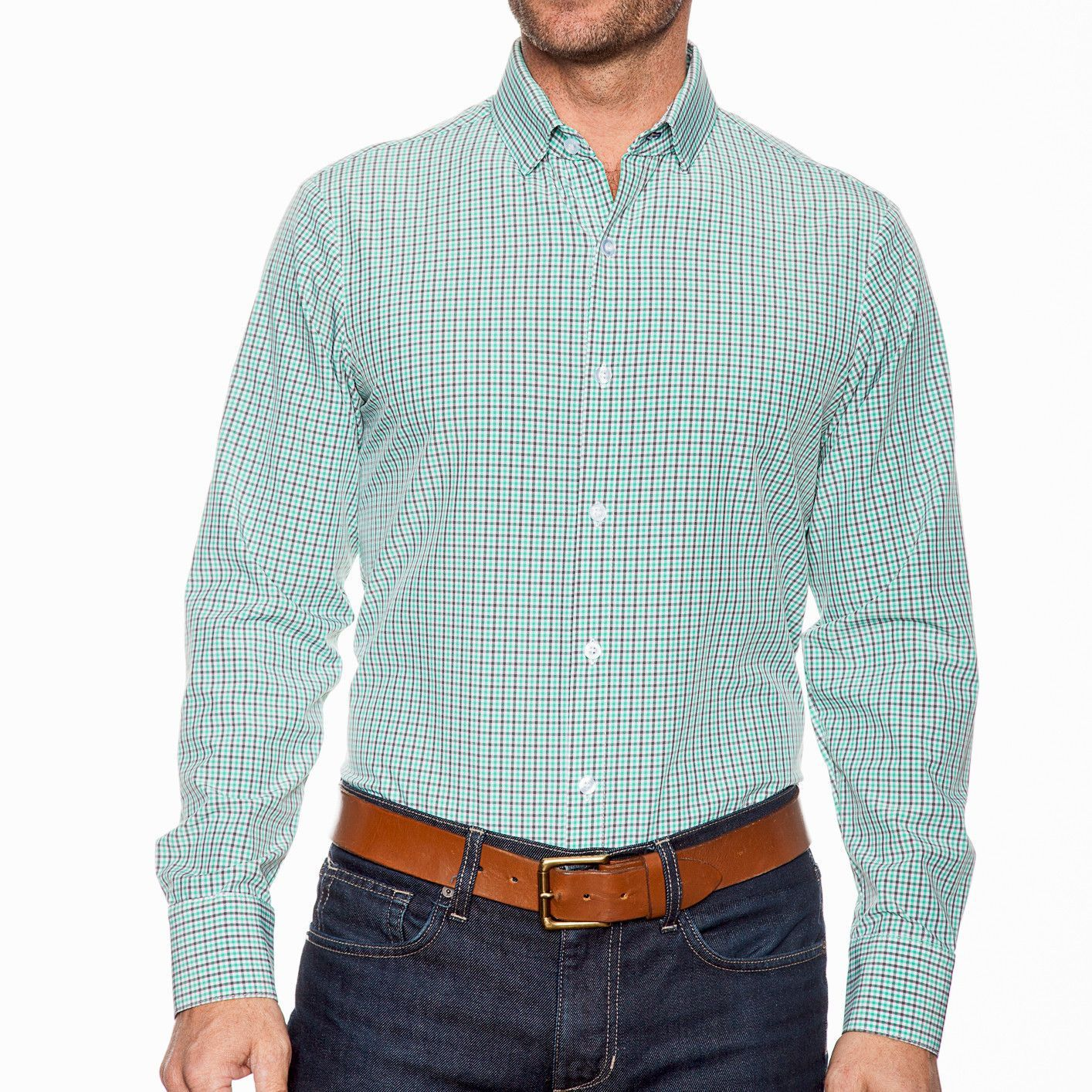 Morgan Mint Green And Gray Check Dress Shirt Mizzenmain