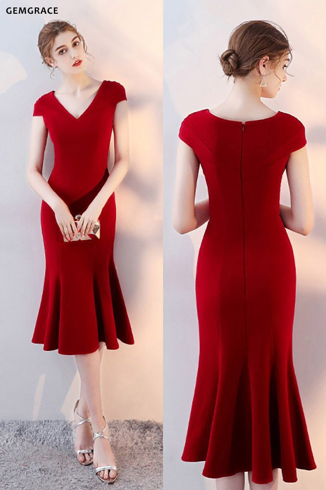 Elegant Burgundy Fit and Flare Party Dress Cap Sleeves # ...