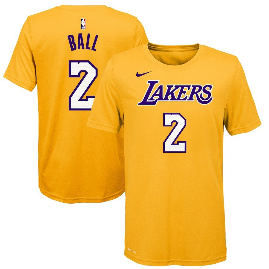 new product 52aa3 aab62 Lonzo Ball Los Angeles Lakers Nike Youth Name & Number T ...