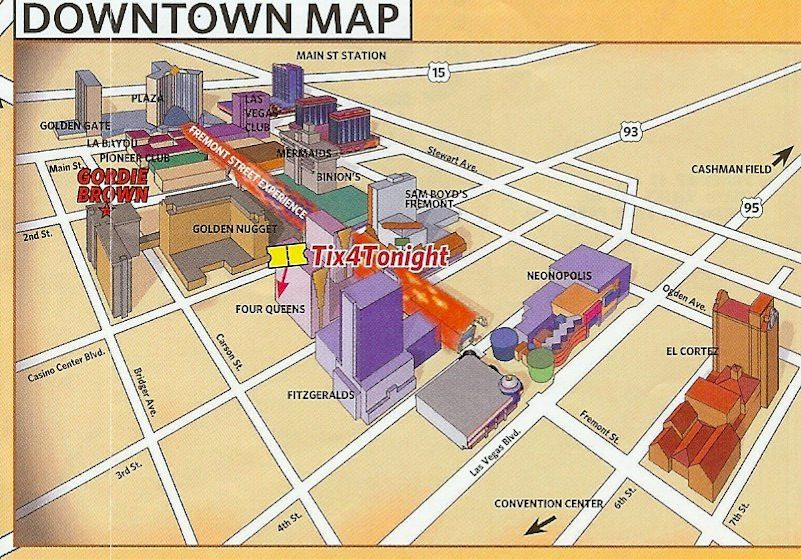 Downtown Fremont street hotels map Downtown Las Vegas Experience
