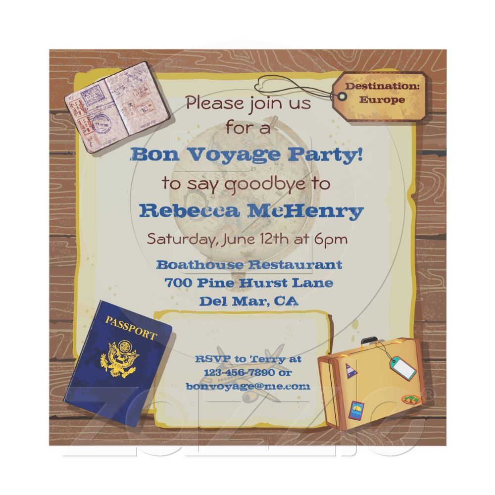 Cute Travel Theme Party Invitation from Zazzle.com | Celebrations ...