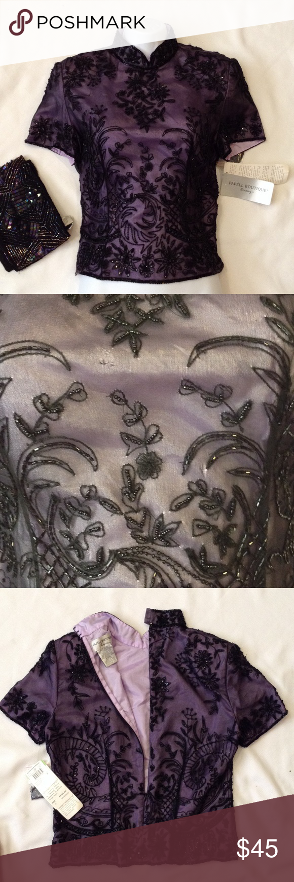Adrianna Papell Beaded Silk Top NWT Silk lavender top with deep purple beaded overlay in a paisley illusion, zipper back. Excellent condition with some irregularity and variations in the fabric and hand worked ornamentation. Extra beads included, did not see any loose beads. Adrianna Papell Tops