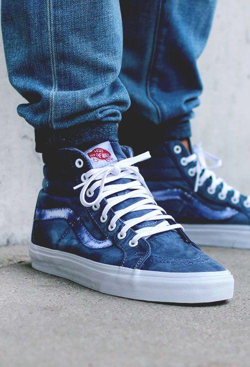 vans sk8 hi over washed jeans
