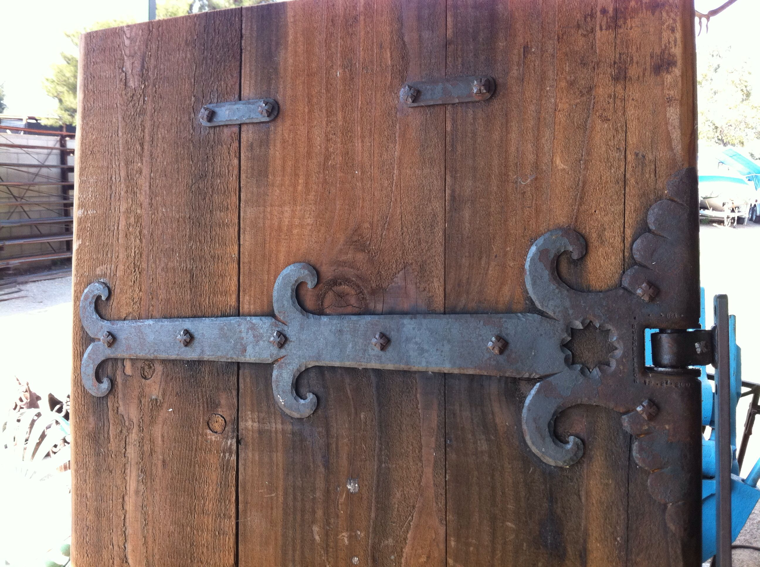 Pin By Bushere Son Iron Studio Inc On Gate Hardware Rustic Doors Rustic Door Hinges Decorative Iron Hinges