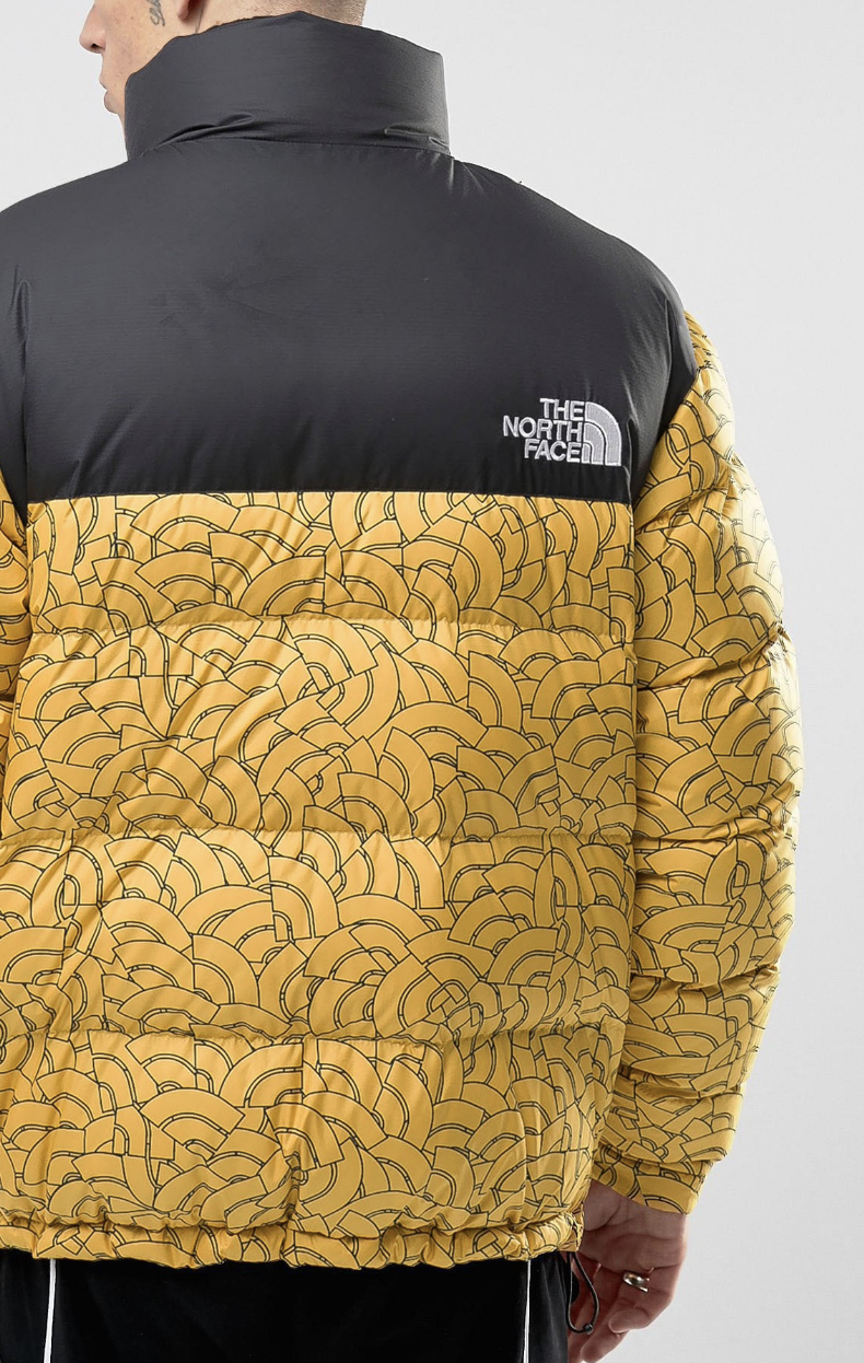 4d96b4dfd2 The North Face 1992 Nuptse Down Jacket 2 Tone in Yelow Dome Print from ASOS