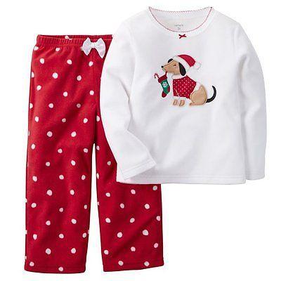 7944b0b819c7 CARTER S Girls 2 Piece Fleece Holiday Pajama Set PJs Sleepwear Size ...