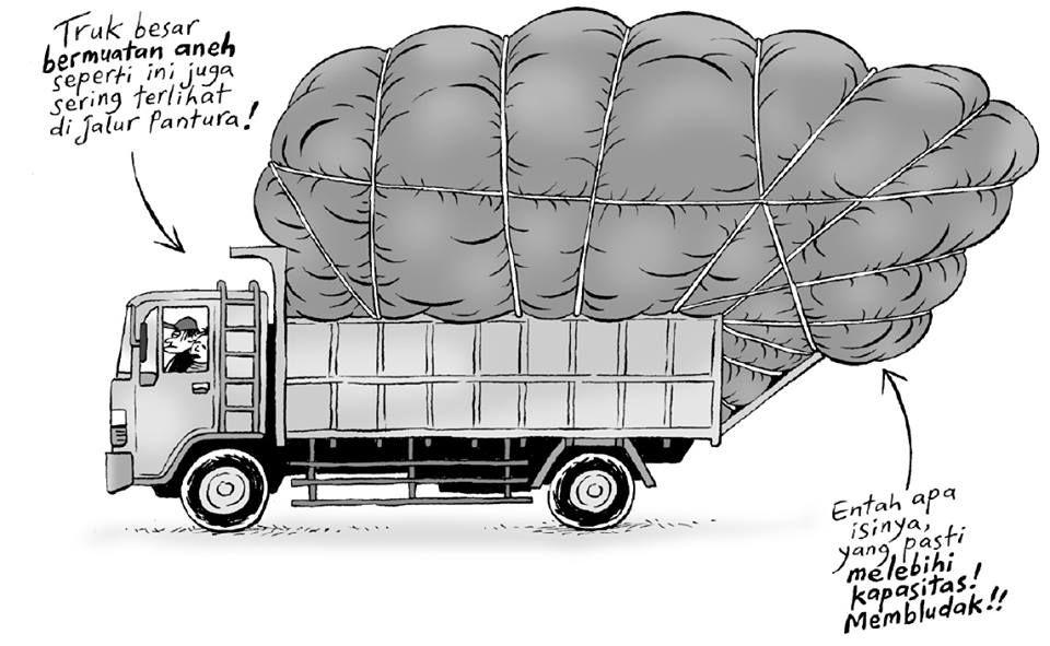Kartun Benny Tiga Manula Keliling Jawa Truk Besar Bermuatan Aneh Truk Besar Komik Kartun