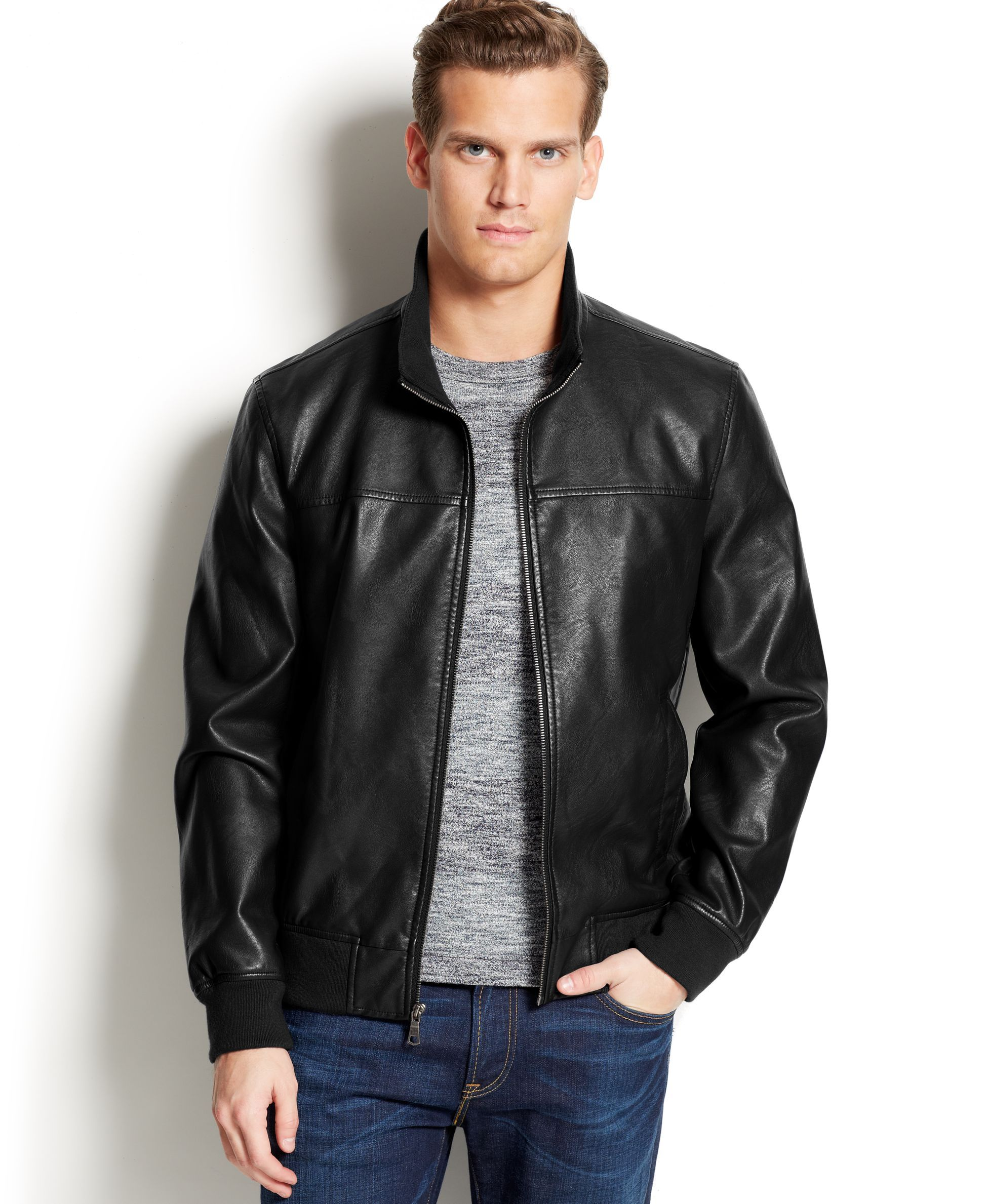 Tommy Hilfiger Faux Leather Bomber Jacket | Products | Pinterest ...