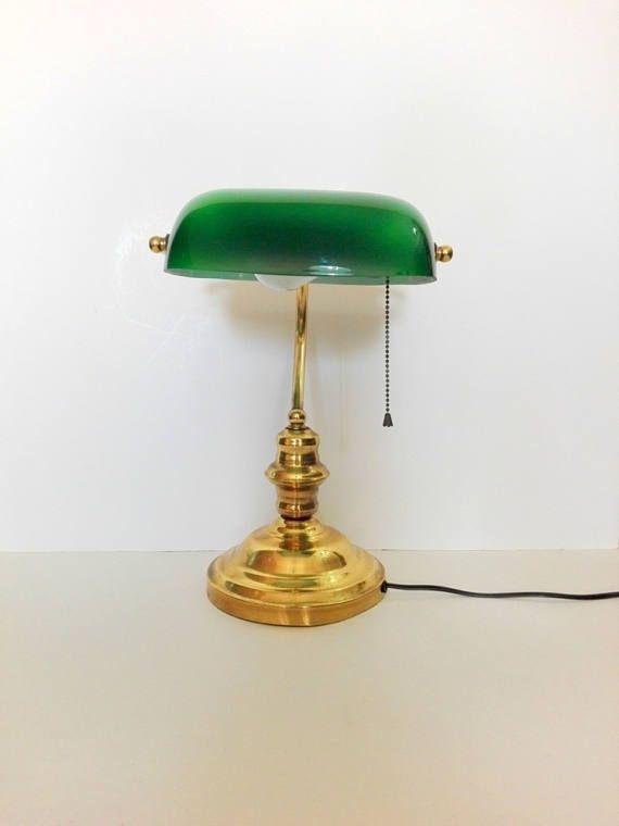 Lampe Banquier Opaline Verte Lampe De Bureau Deco Bureau Lamp Vintage Desk Brass Lamp
