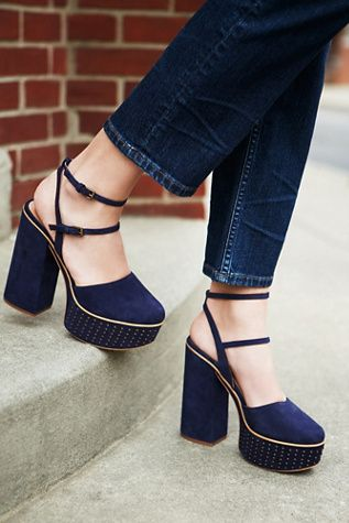 742239ccb5 Star Crossed Platform | Free People Inspired by decades past, these suede  platforms feature a sky high block heel and a rounded toe.