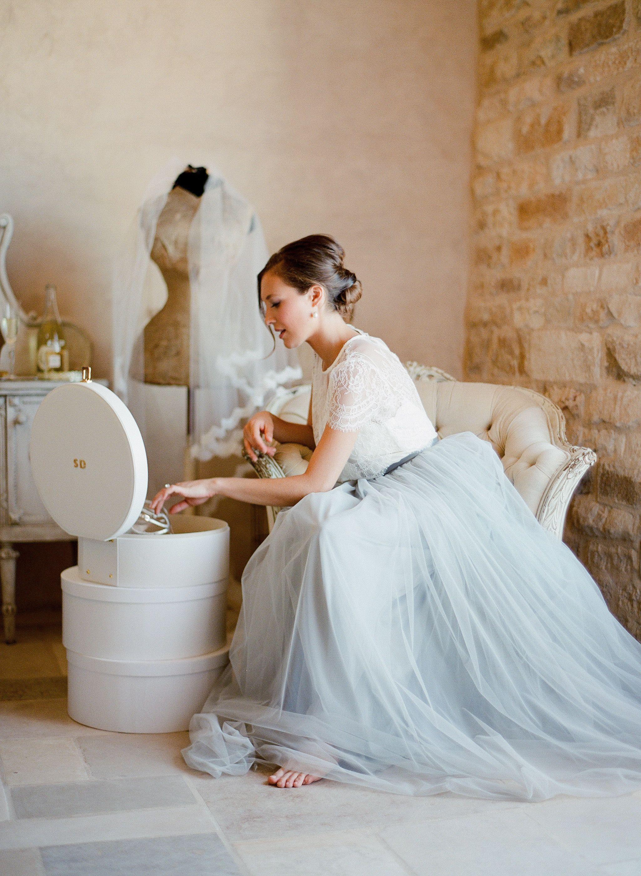 Dusty blue wedding dress  Romantic Bridal Inspiration with Trousseau u Co  A Whisper of