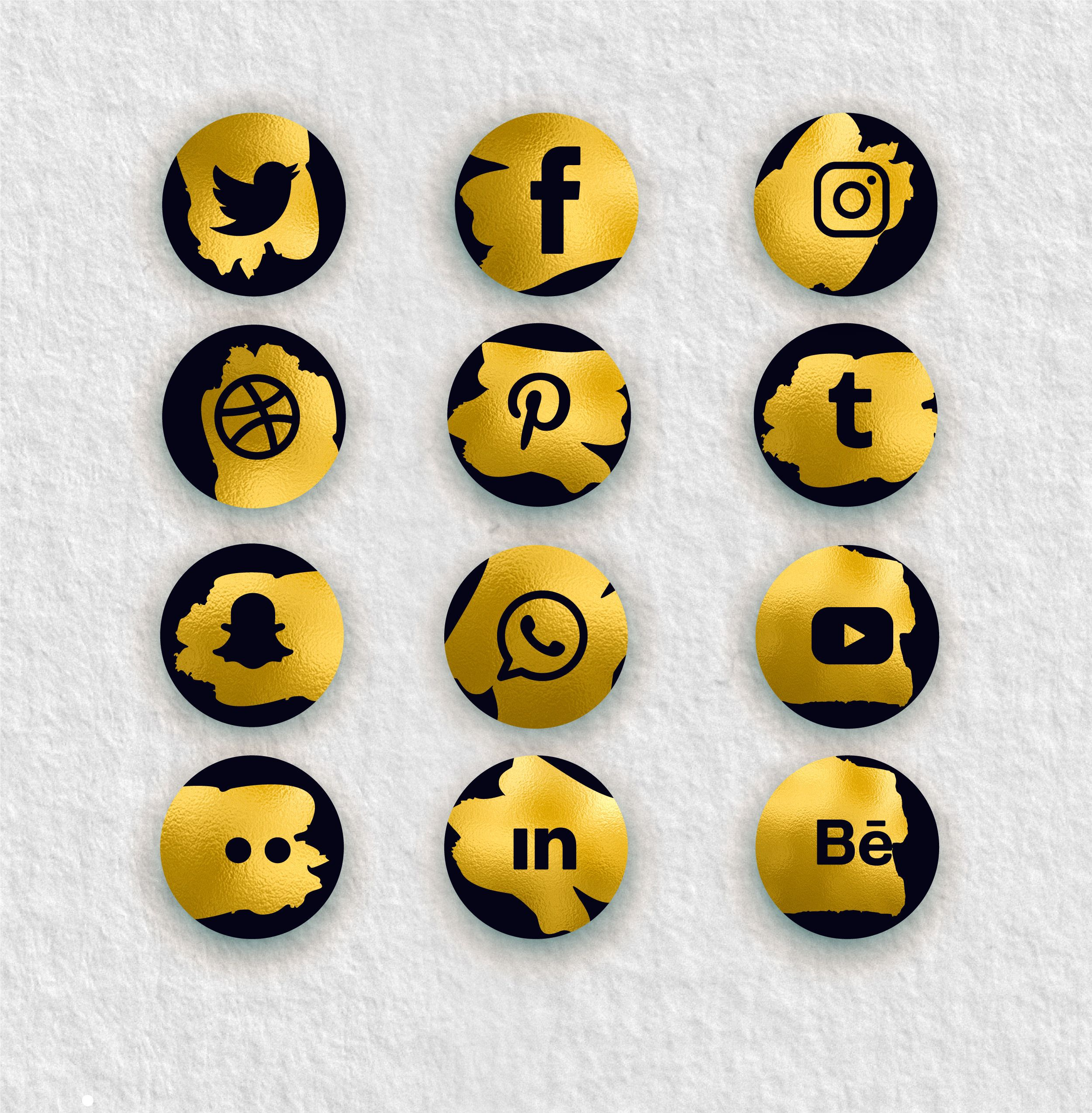 Golden Social Media Icons Set. Gold Foil Icons Gold