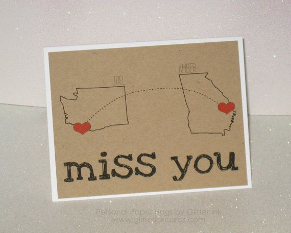 Personalized Long Distance Relationship Card  by PersonalPaperHugs