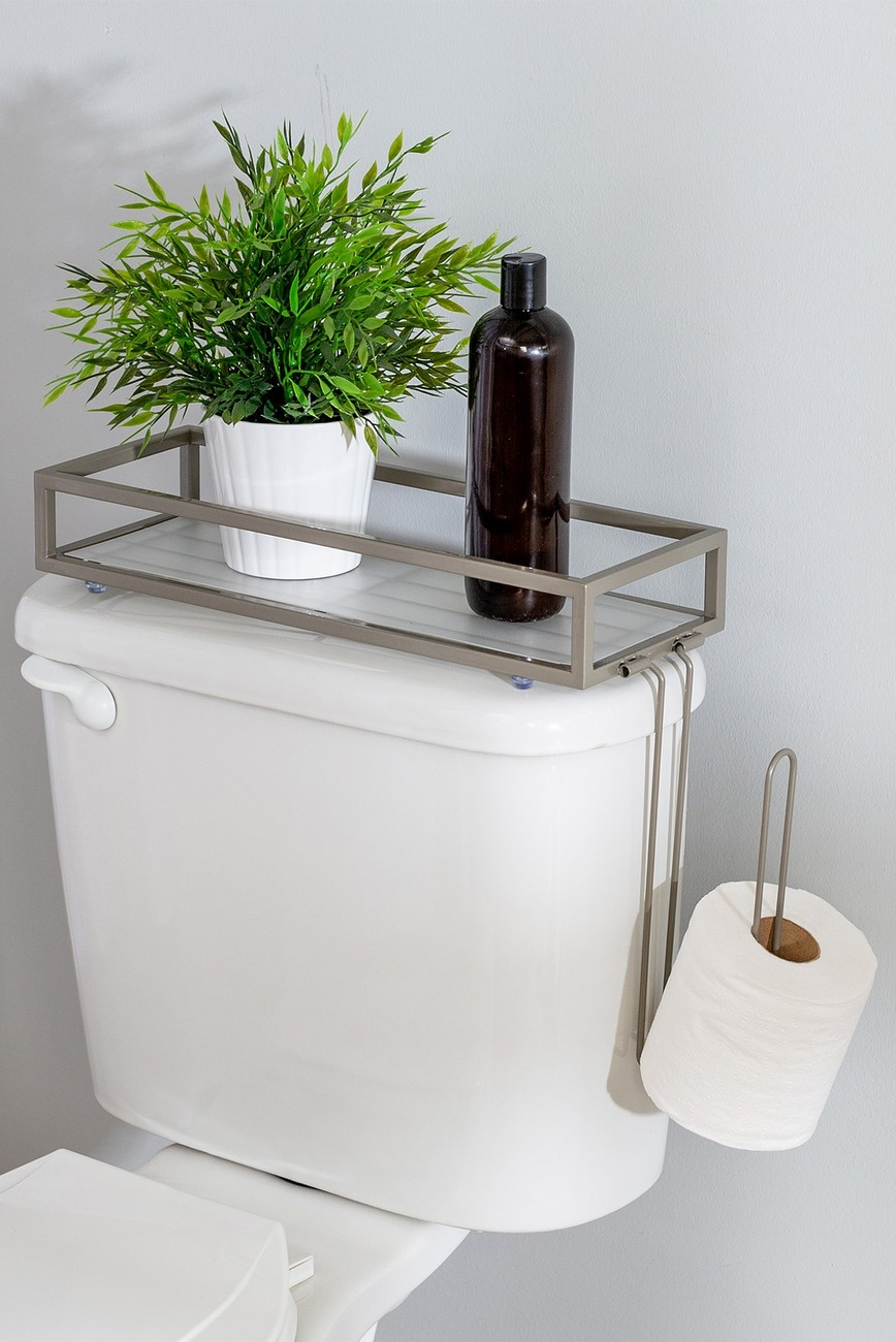 Honey Can Do Nickel Toilet Storage Tray In 2020 Toilet Storage Toilet Tank Wall Mounted Toilet