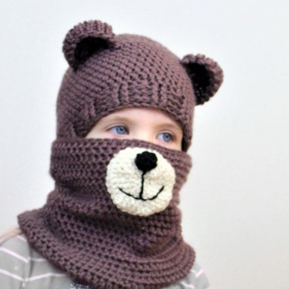 Crochet pattern, Patron crochet, PDF, Blair BEAR Set=hat+cowl, toddler, child, teen, adult size, Crochet hat, Crochet cowl, 2for1, Halloween #bonnets
