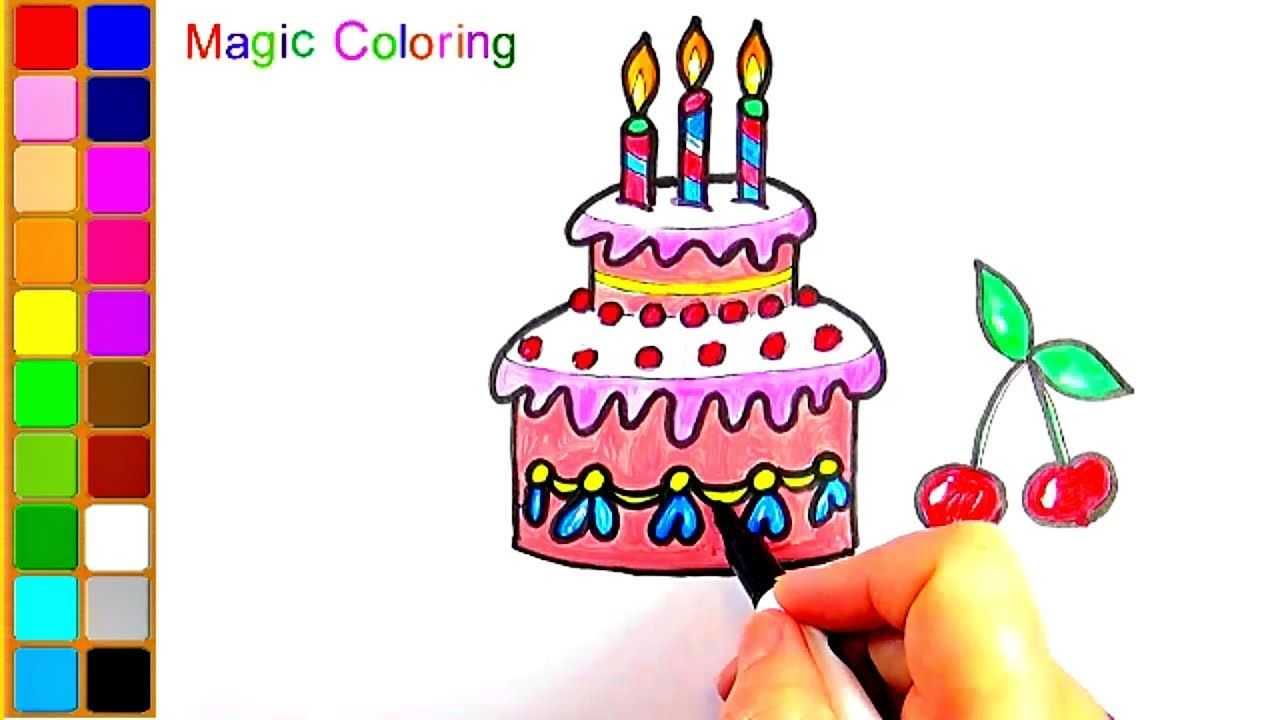How To Draw A Birthday Cake Easy Coloring Video For Kids Coloring Books Color Birthday