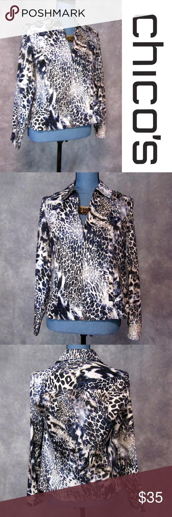 b06ecbfabbd9 Chico's Sz 0 S Blue Leopard Print Zip Front Jacket Chico's Blue Leopard  Animal Print Jacket