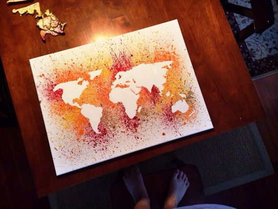 Hand painted splatter world map canvas by huesofgrace on etsy hues hand painted splatter world map canvas by huesofgrace on etsy gumiabroncs Images