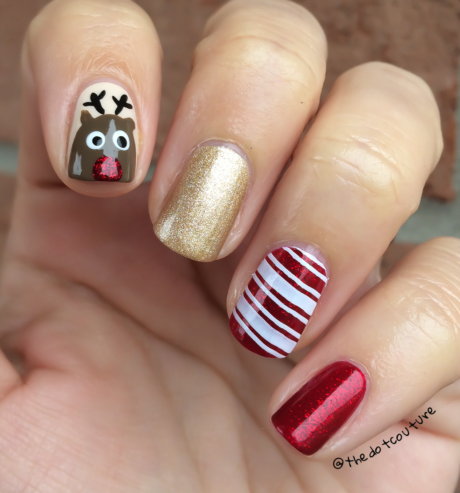 Christmas nail design: Rudoloh and candy cane