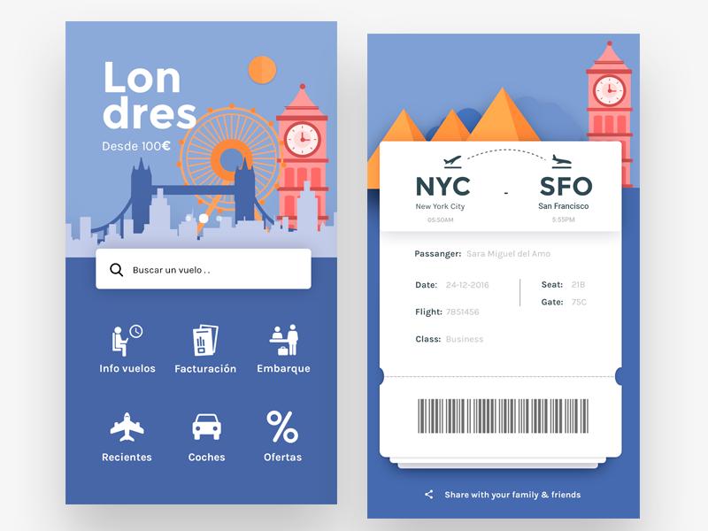 Flights App Home Boarding Pass 돌잔치 초대장 웹디자인 앱