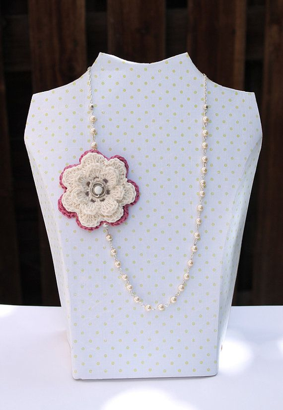 pearl necklace with white mauve crocheted rose by Giftsandbobs, £15.00