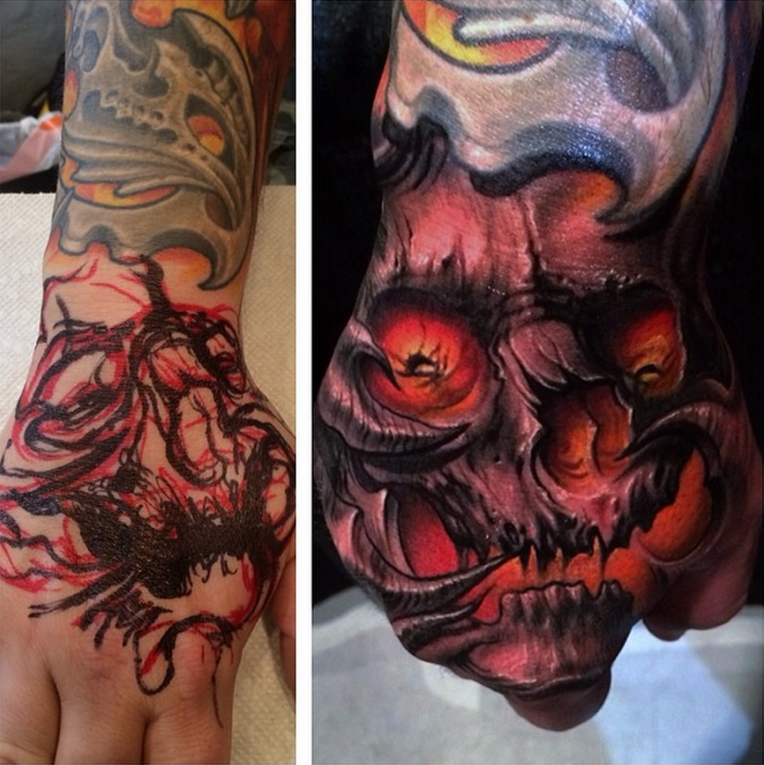 Detailed Scary Hand Skull Tattoo Tattoos, Skull hand