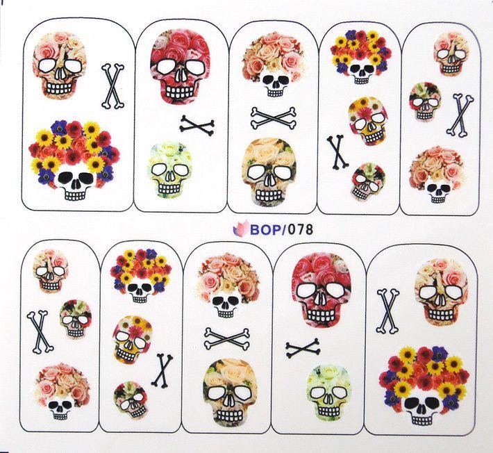 10 Designs Halloween Nail Art Decals Stickers Witch Bat Skull Ghost Cat  Pumpkin BOP Series Free