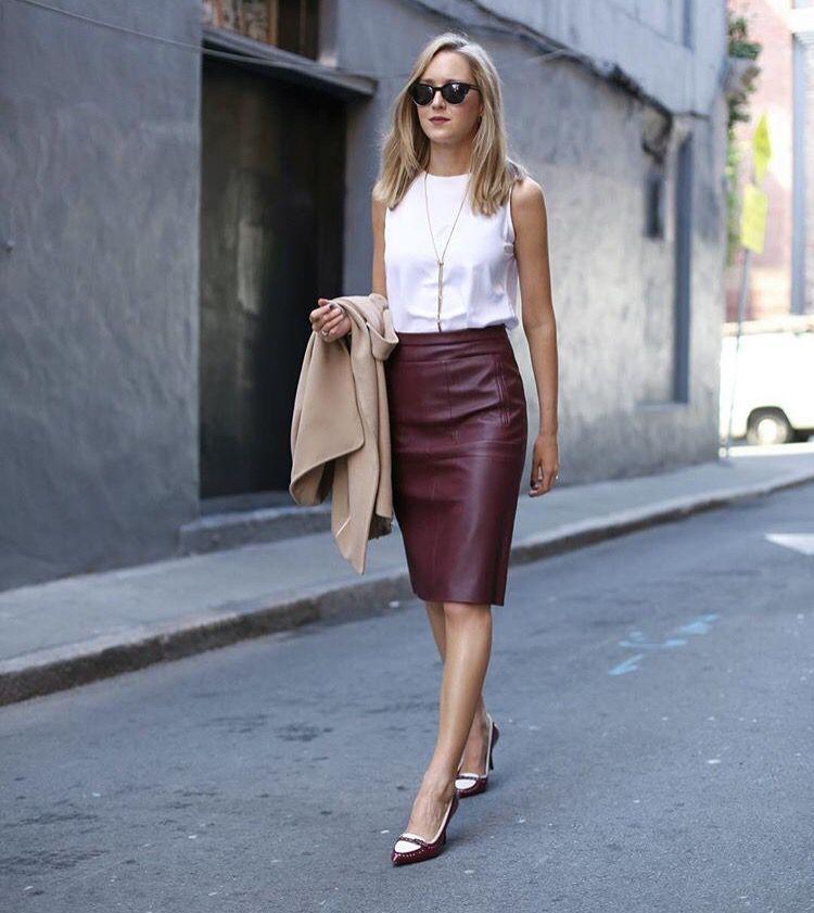 burgundy leather skirt chic executive