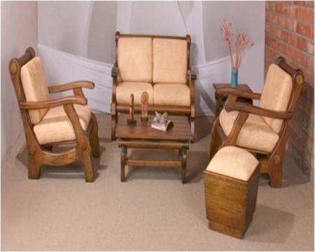 Salas estilo rustico salas madera reciclada guadua fique for Muebles rusticos de madera
