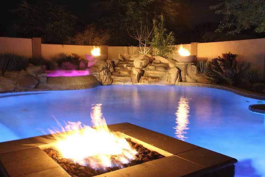 Phoenix Swimming Pool Waterfalls Features Arizona Unique Custom Pools Az Photo Gallery