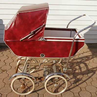 Vintage Pram Stroller Baby Buggy 1950 S Toddler Doll Carriage Vinyl