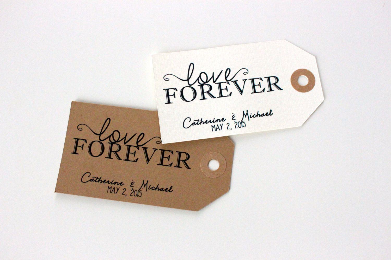 Wedding Favor Tags- Love Forever, Set of 20 Tags. Handmade Custom ...