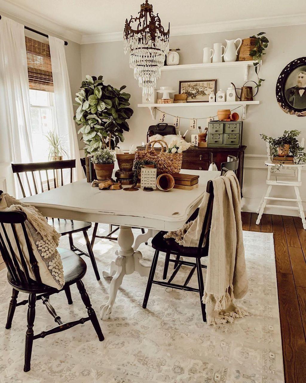 40 Stylish Farmhouse Style Ideas For Dining Room Country Dining Rooms Shabby Chic Dining Room Dining Room Decor
