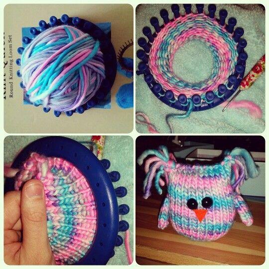 Cute owl made using a knitting loom