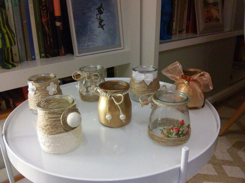 Envases de yogurt decorados como portavelas trascos for Envases de vidrio decorados