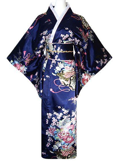 kimono japonais femme marine style geisha grandes manches kimono jamponais femme pinterest. Black Bedroom Furniture Sets. Home Design Ideas