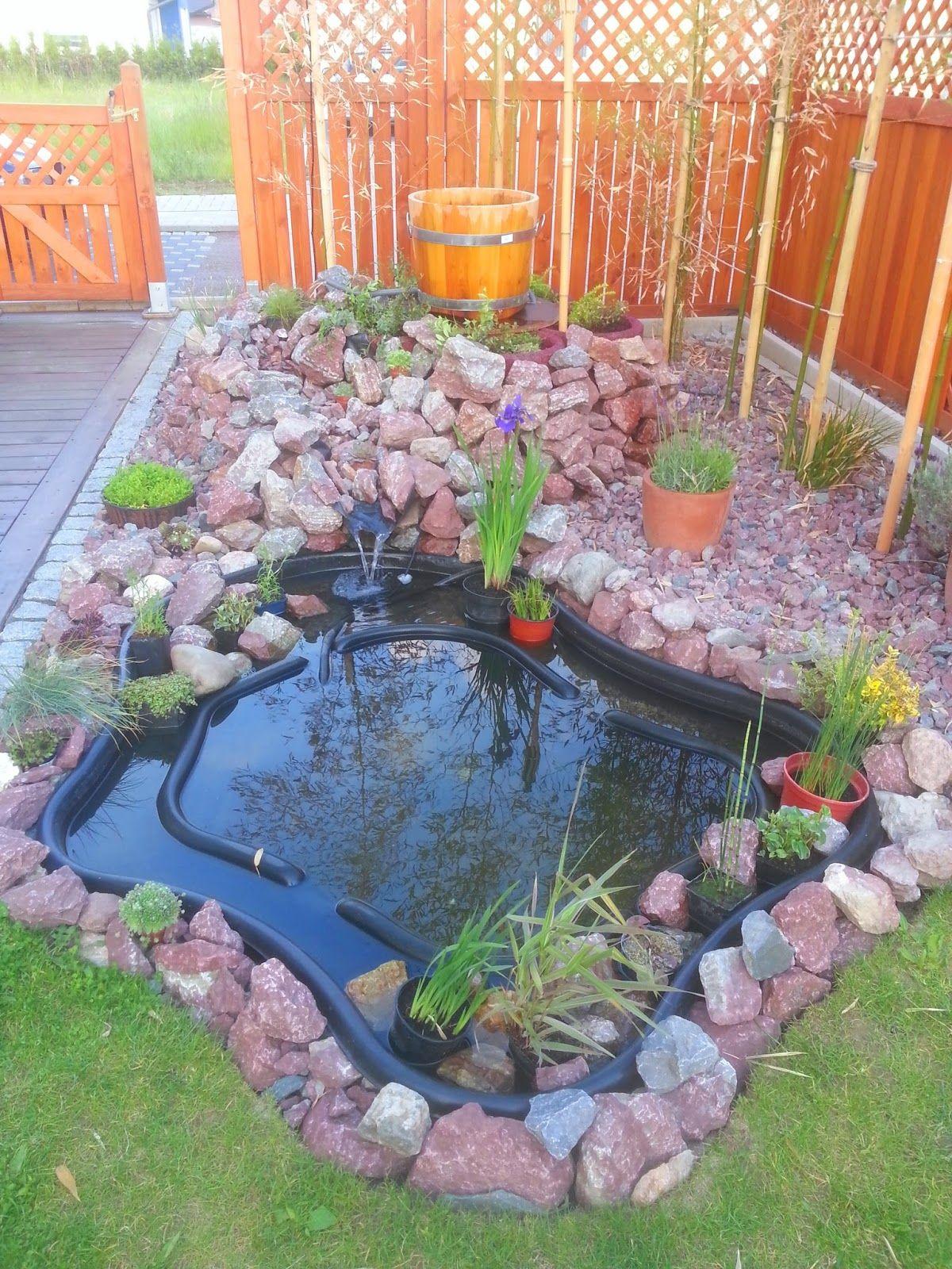 unser kleiner Steingarten mit Minigartenteich und Bachlauf geht in ...