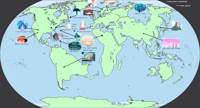 Map Of Some Steven Universe Locations On Earth Imaginarymaps Steven Universe Imaginary Maps Universe