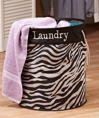New Zebra Print Laundry Bin Clothes Storage W/ Handles Girls Dorm Bedroom  Decor