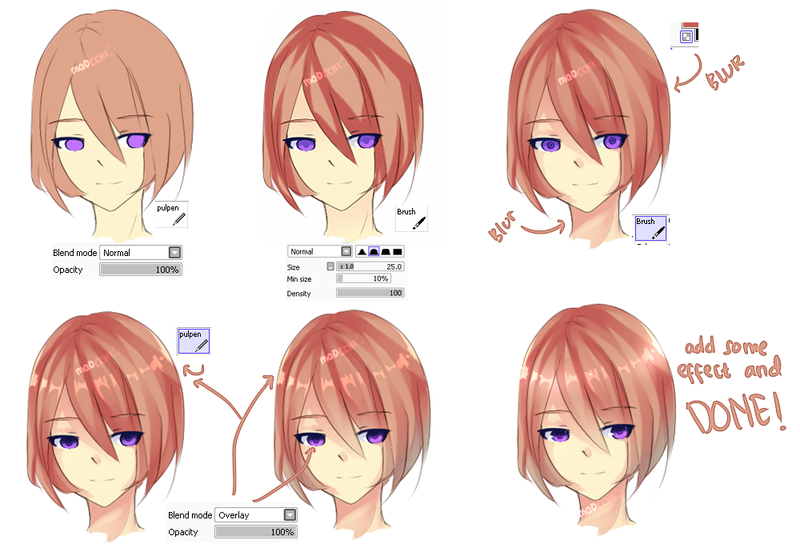 Coloring Tutorial By Maocchi On Deviantart Anime Art Tutorial Drawing Hair Tutorial Deviantart Drawings