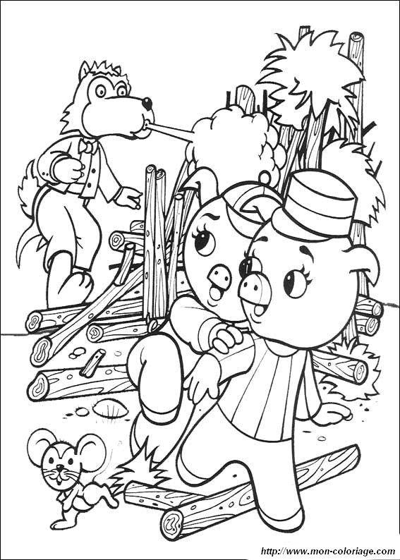 ausmalbild ausmalen drei kleinen schweinchen | coloring 5 ...
