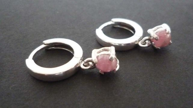 Pink Rhodonite Silver hoop lever back earrings £25.00