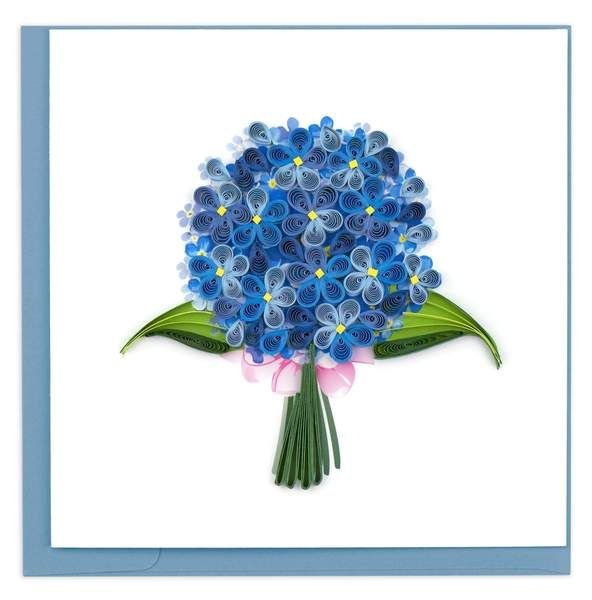 Quilled Hydrangea Greeting Card in 2020 | Floral cards ...