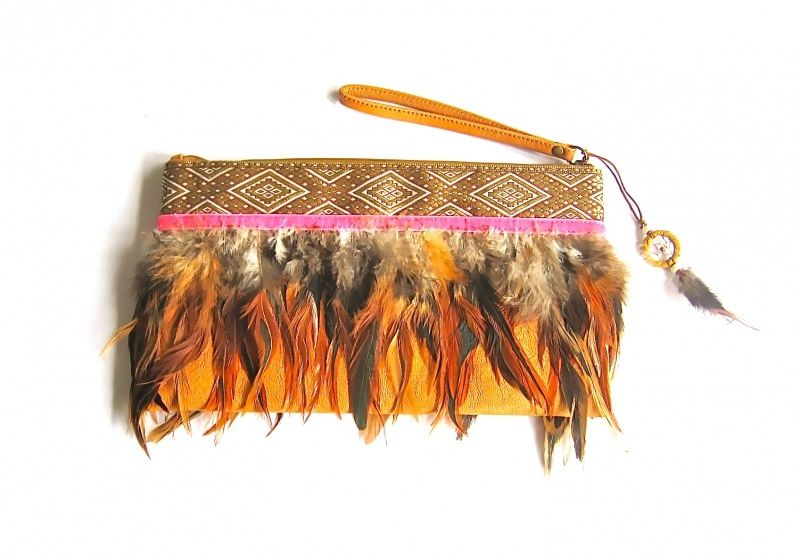 Gipsy Ibiza Indy Clutch Feather Pink