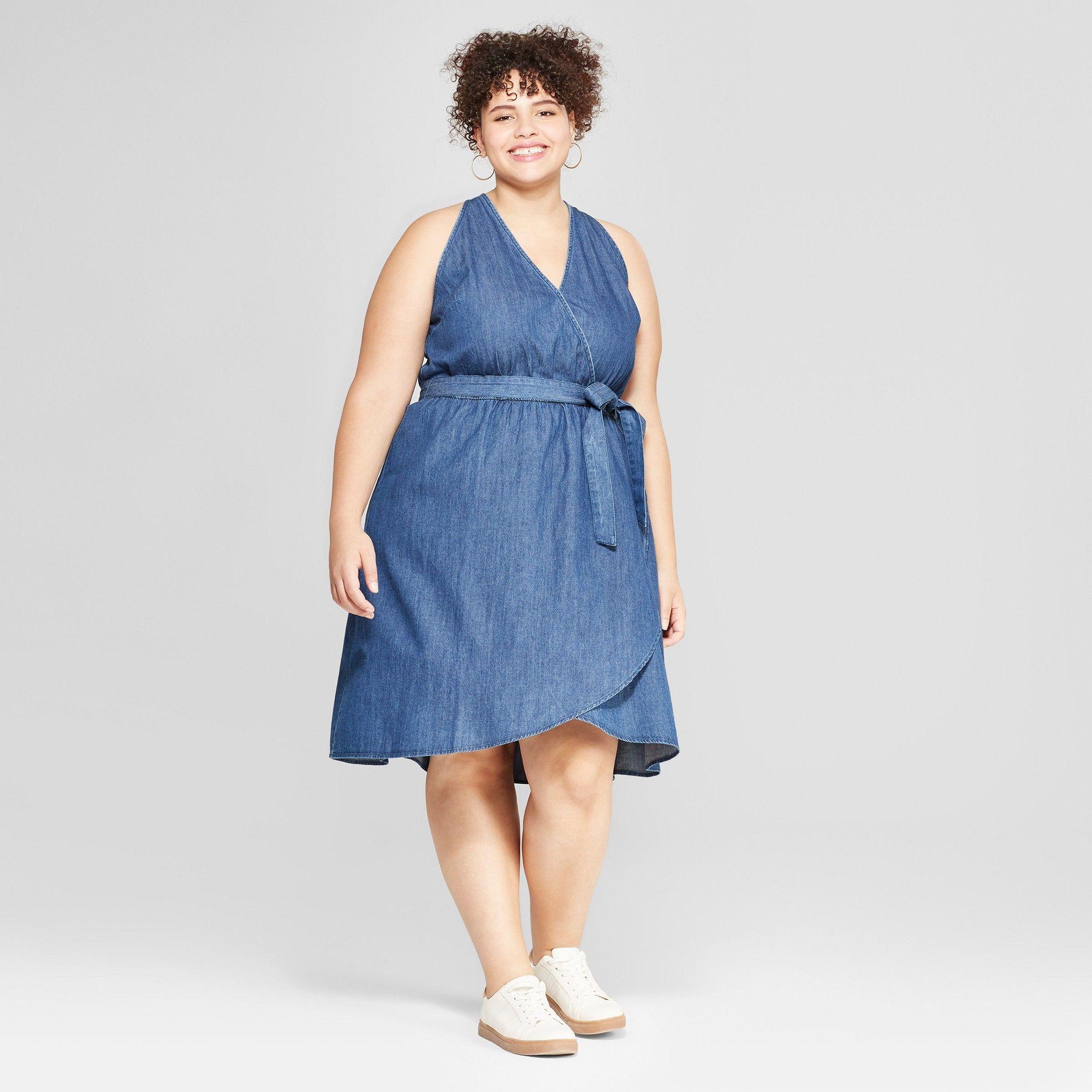 c30c18d69e Women s Plus Size Denim Wrap Dress - Universal Thread Dark Wash 4X ...