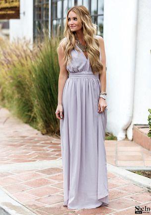 Light Purple Deep V Neck Maxi Dress -SheIn(Sheinside)  c538a6361
