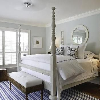 Gray 4 Poster Bed Transitional Bedroom Bedroom Colors Blue Bedroom White Wall Bedroom