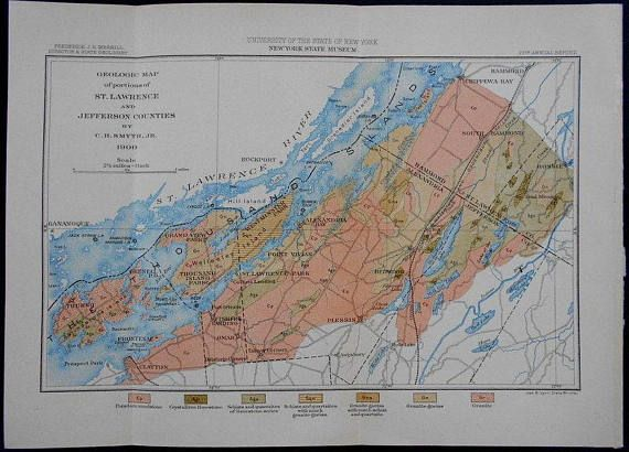 1900 Geologic Map of Portions of St Lawrence & Jefferson Counties
